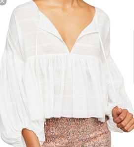 Free People White Beaumont Mews Blouse Size XS